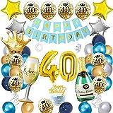 40 Cumpleaños Decoracion Globos, APERIL Azul Oro Plata Globos de Cumpleaños Feliz Fiesta 40 Años Adultos Mujer Hombre, Globos Numeros Gigantes 40, Happy Birthday Pancarta, Confeti Latex Globos Corona