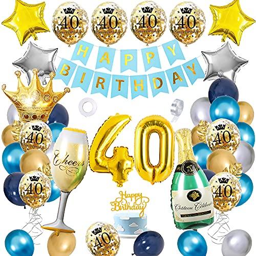 APERIL Palloncini Compleanno 40 anni Blu Oro Argento Palloncini Addobbi, Uomini e Donne Decorazioni Feste, Palloncini in Coriandoli Happy Birthday Striscione Corona Champagne Tazza Palloncini