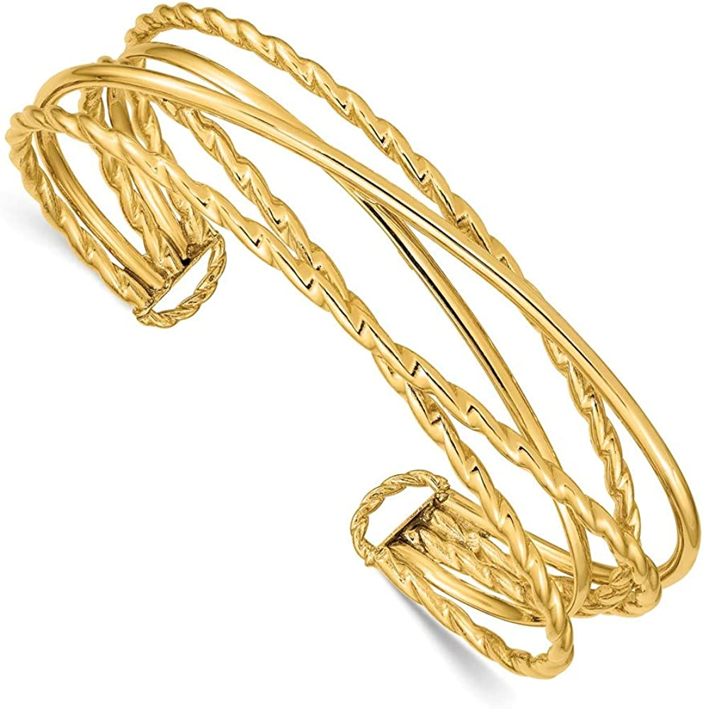 14k Yellow Gold Multi Tube Cuff Bangle Bracelet Expandable Stackable Fine Jewelry For Women Gifts For Her