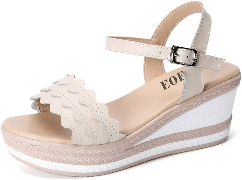 Hoxekle Summer Women Sandals Wedges shoes Woman Medium Heel Fashion Solid Simple Elegant Ladies Platform Sandals