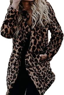 Womens Casual Leopard Print Open Front Jacket Long Sleeve Loose Lapel Coat Outwear Tops