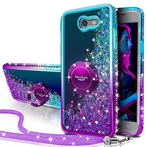 Silverback Moving Liquid Holographic Glitter Case with Ring/Bling Diamond for Samsung Galaxy J3 Emerge/ J3 Mission/ J3 Eclipse/ J3 Luna Pro/Sol 2/ J3 2017 -PR
