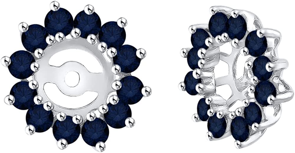 KATARINA Sapphire Floral Earring Jackets in 14K Gold (1 3/8 cttw)