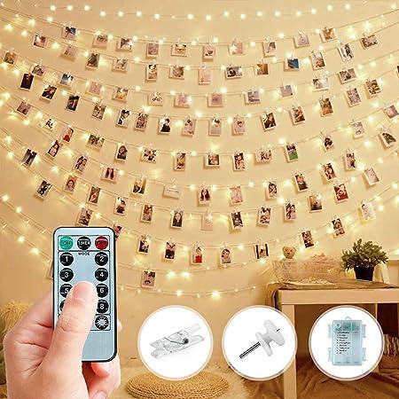 Trongle LED Guirlande Photo, 10M/32FT 100LED Guirlande Lumineuse Chambre Deco Chambre Ado Fille avec Télécommande 8 modes, Déco Pour Chambre à Coucher Fête, Mariage, Décoration de Noël (Blanc Chaud)