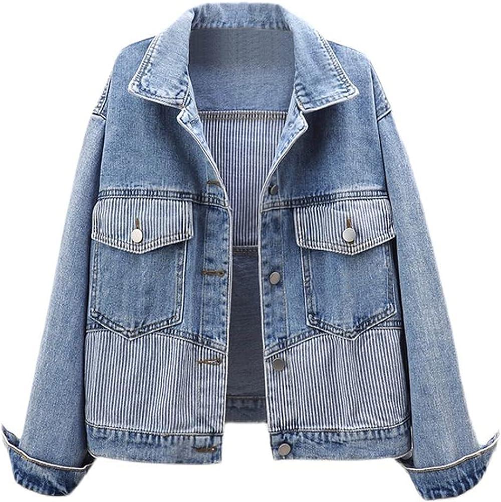 SCOFEEL Women's Stripe Patchwork Jean Jacket Button Down Long Sleeve Denim Jacket Coat