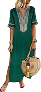 GOSOPIN Women Summer Cover Up Dress Kaftan Beach Maxi Dresses