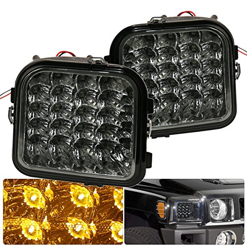 AJP Distributors For Hummer H3 H3T Smoked Lens LED Amber Signal Bumper Lights Corner Lamps Signal Parking 2006 2007 2008 2009 2010 06 07 08 09 10