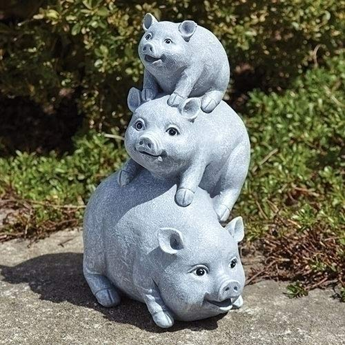 Garden items - 11658 Pigs Garden Statue, one Size, Light Gray