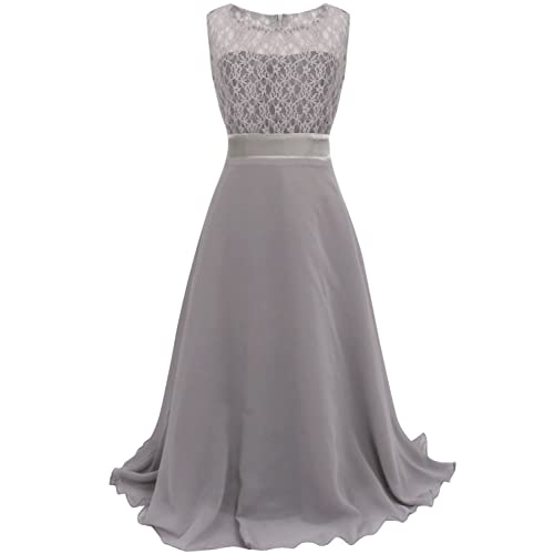 2c014e1cccf CHICTRY Big Girls Chiffon Lace Party Wedding Bridesmaid Dress Junior Maxi  Dance Ball Gown