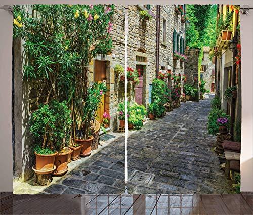 Ambesonne appartement Decor Collection, fenêtres traitements, salon, chambre à coucher ensemble 2 panneaux à rideaux,, Tissu, Multi 21, 108W x 90L
