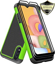 Galaxy A01 Case with Tempered Glass Screen Protector [2 Pack], Dahkoiz Armor Defender Cover Samsung Galaxy A01 Cases Dual ...