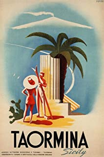 Taormina Sicily Retro Travel Cool Wall Decor Art Print Poster 24x36