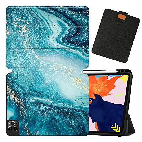 MAITTAO Case for iPad Pro 12.9 2020 4th Generation, Support Apple iPad Pencil Holder & Wireless Charging, Soft TPU Back Shell Stand Smart Cover Tablet Sleeve 2 in 1 Bundle,Marble 1