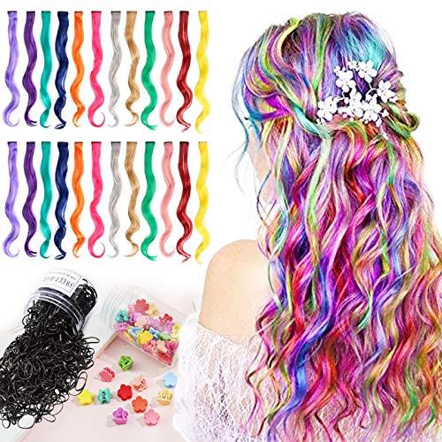Farbige Haarverlängerung Clips Lange lockige 24 Farben Bunte Haarsträhnen Glatte Regenbogen Gerade(DIY) Weihnachten Für Mädchen Kinder Synthetisch Haarteil 24 Stück