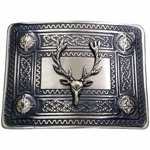 AAR Scottish Men's Kilt Belt Buckle with Stag Head Badge Antique Finish