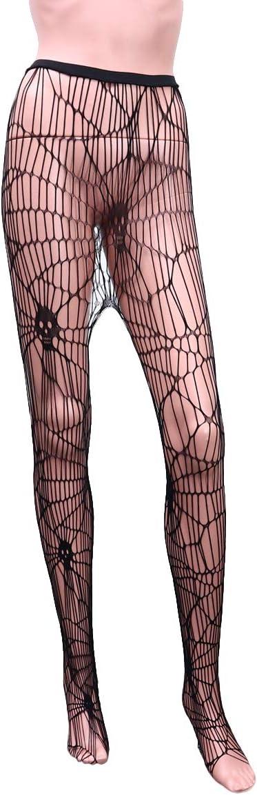 ABOOFAN Small Mesh Stockings Elastic Halloween Women Tights Sexy Spider Web Skull Stockings Black Halloweem Decoration