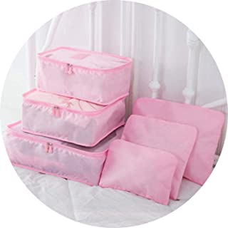 I'll NEVER BE HER 6Pcs/Set Travel Storage Bags Luggage Organizer Pouch Shoes Sorting Packages Suitcase Clothes Tidy Storage Case Toiletry Bag Set,Pink