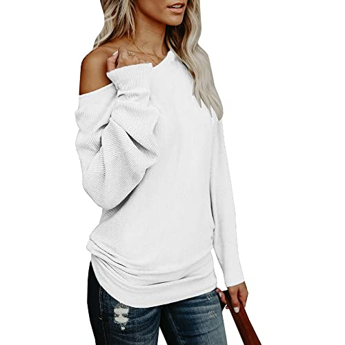 760b5ca940780 Umeko Womens Off The Shoulder Sweater Oversized Knit Long Sleeve Sweaters  Tunic Tops