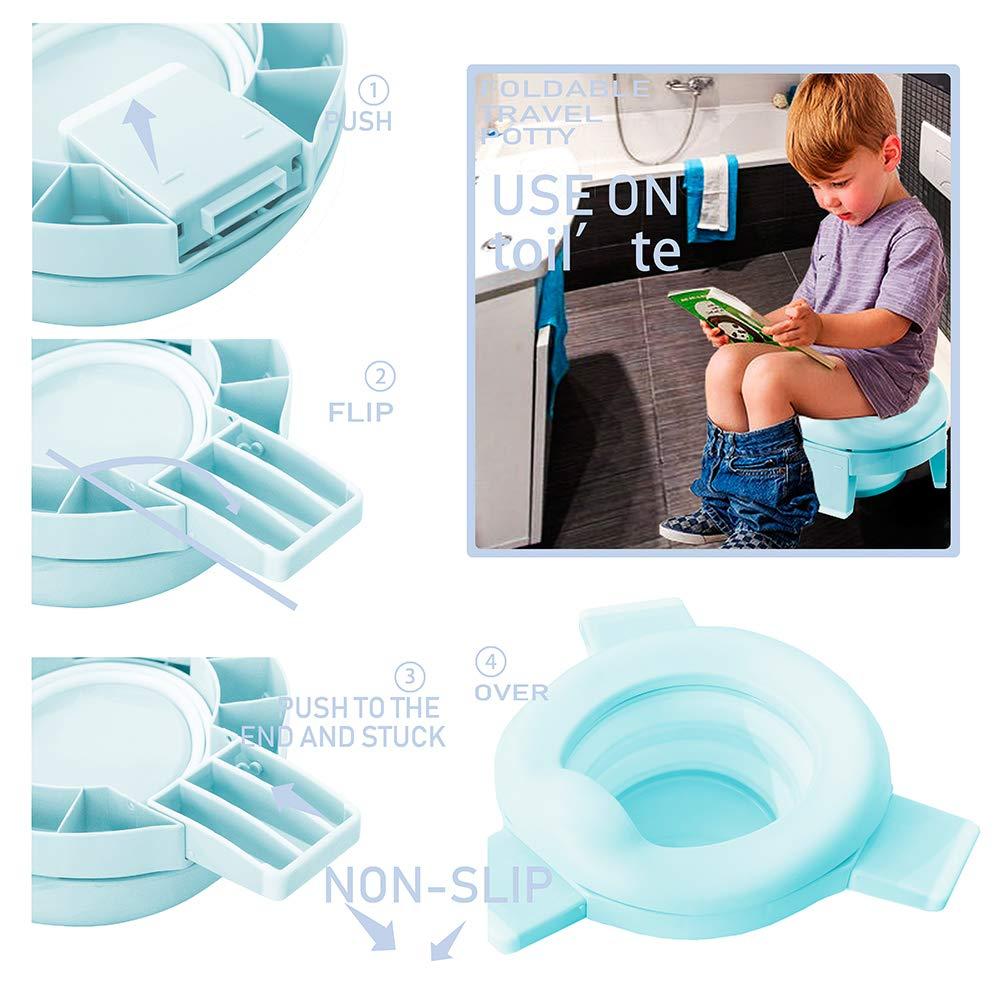Travel Potty Kids Portable Folding Potty Training seat Children 3-in-1 Go Potty for Travel (Blue)