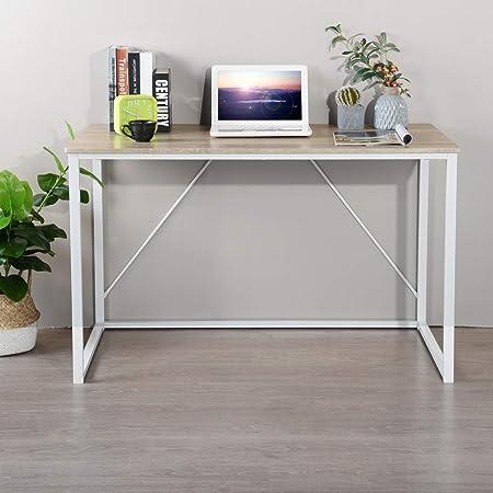Bureau d'ordinateur Bureau de bureau à domicile de style simple 120 x 60 x 75 cm Bureau d'étude pour ordinateur portable avec cadre en métal Bureau de salle à manger rectangulaire - Hêtre blanc