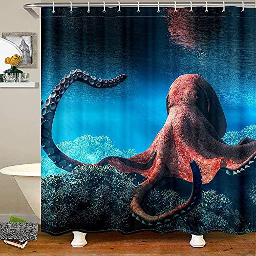 Red Octopus Shower Curtain for Bathroom, Underwater World Bath Curtain, Octopus Tentacles Marine Life Deep Ocean Fish Pattern Fabric Shower Curtains Waterproof, 72' W X 72' L