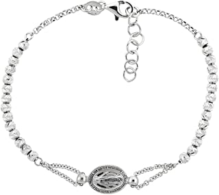 Sterling Silver Miraculous Medal Bracelet Virgin Mary Diamond Cut Beads Italy, 7 - 8 inch
