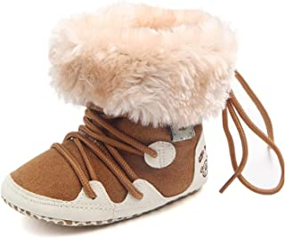 Baby Boys Girls Winter Warm Plush Long Booties Newborn Snow Non-Slip Lacing Boot Shoes 0-18 Months (Color : Brown, Size : ...