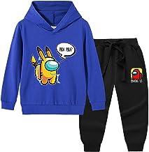 EA-SDN Among Us Sweatshirt voor kinderen, 3D-katoen, pullover met bewegingsbroek, zwart/grijs, voor jongens