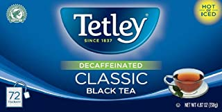 Tetley Naturally Decaffeinated Classic Black Tea, 4.87 oz. Box Containing 72 Tea Bags - Enjoy Hot or Iced, a Natural Source of Antioxidants