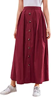 Shein Women's Button Front Mid Waist Flare Solid Casual A Line Long Skirt