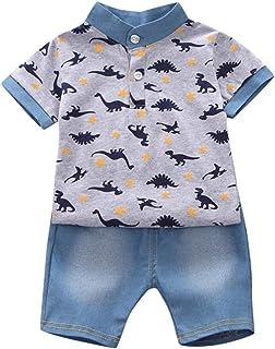 Ropa Bebe Niño Verano Recién Nacido 6 Meses a 3 Años Casual Camiseta de Manga Corta con Estampado de Dinosaurios + Pantalones Cortos de Mezclilla Conjunto Dos Piezas Verano Pijamas