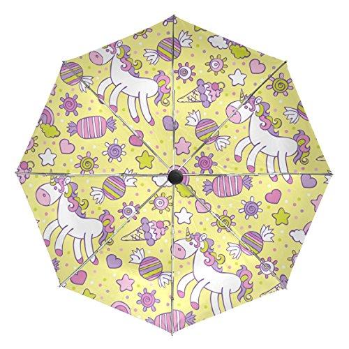 TIZORAX Eenhoorn IJs Snoep Regenboog Cloud Winddicht Opvouwbare Regen Reisluifel Paraplu Auto Open Sluit Knop