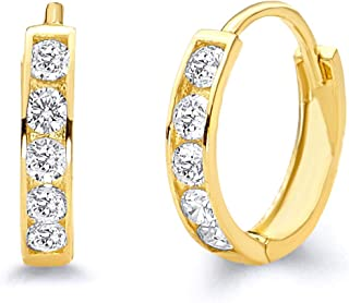 14k Yellow Gold 2mm Thickness CZ Channel Set Hoop Huggie Earrings - 3 Differnet Size Available