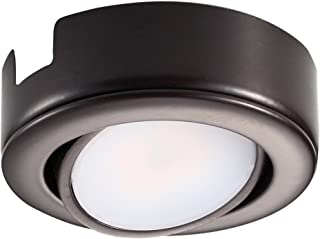 GetInLight Dimmable and Swivel, LED Puck Light with ETL List, Recessed or Surface Mount Design, Warm White 2700K, Bronze Finished, Power Cord Not Included, IN-0107-1-BZ-27
