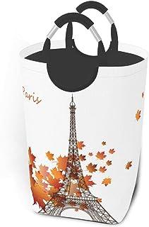 Bonjour Paris Tour Eiffel Panier à linge feuille romantique Sac à linge sale Panier à linge pliable Organisateur de rangem...