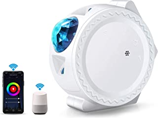 WIFI Projector Night Light, ALED LIGHT Upgraded Smart LED Projection Light Stars Water Wave Moon 3in1 Starry Sky Home Ligh...