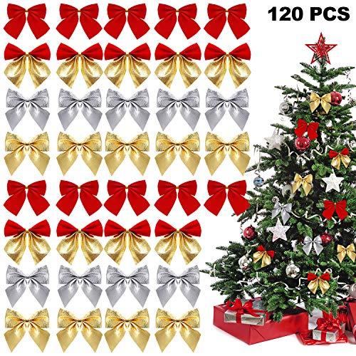 WILLBOND 12 Pièces Rubans Nœuds de Noël Mini Nœuds Arbre de Noël Nœuds Ornements de Noël Décoration pour Le Cadeau de Couronnes de Noël Fournitures d'emballage, 4 Couleurs
