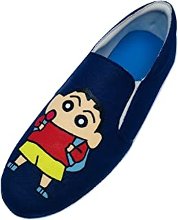 FUNKY N TRENDY Shin Chan Hand Painted Navy Blue Waterproof Women's Canvas Shoes