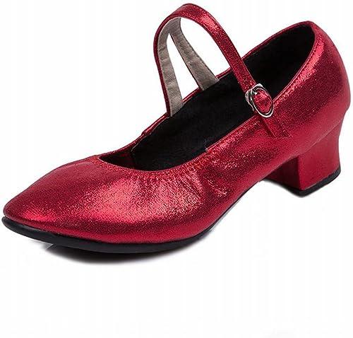 BYLE Sangle de Cheville Sandales en Cuir Chaussures de Danse Modern'Jazz Samba Chaussures de Danse d'été Chaussures Modernes Fil Net Hasp Rouge Doux Chaussures de Danse