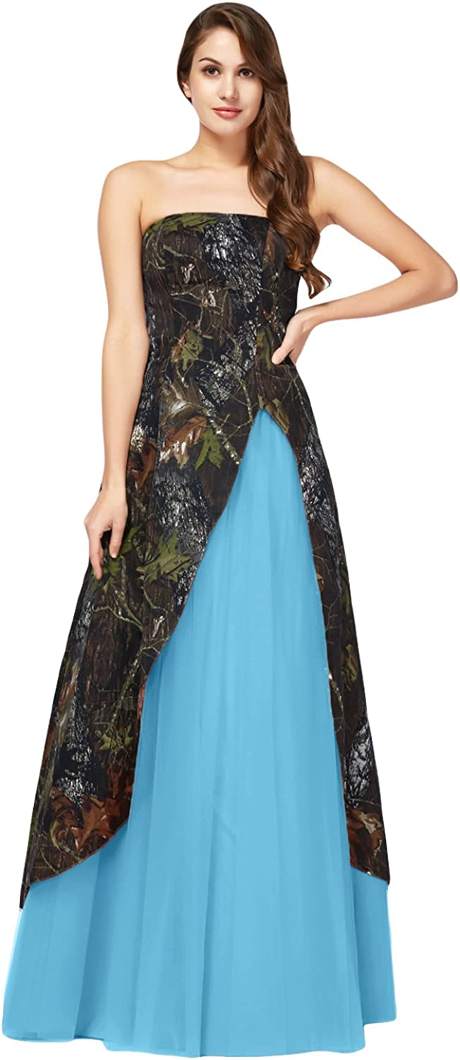 DINGZAN Strapless Camo and Tulle Long Bridesmaid Dresses Formal Gowns