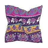 QMIN - Pañuelo cuadrado de seda, diseño de elefante indio de elefante de la India, de moda, pañuelos de pelo, ligeros, para el cuello, para mujeres, 60 x 60 cm