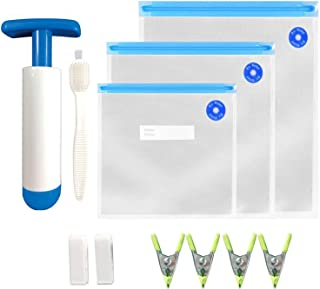 Sous Vide Bags 30 Reusable Vacuum Food Sealer Bags with pump for Anova Joule Cookers,3 sizes Sous Vide Bag Kit with 2 seal...