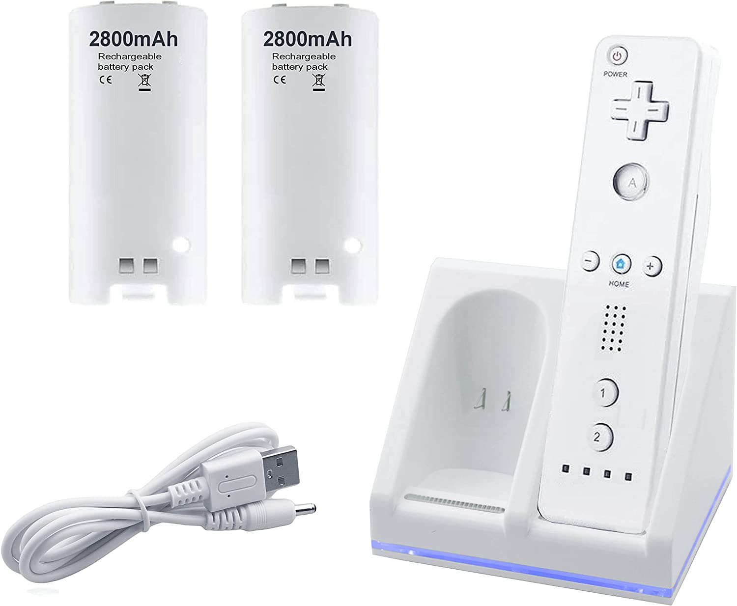 Wii Remote Charger, 2 in 1 Charging Station Charger Dock with 2 Pack 2800mAh Rechargeable Battery Fit for Wii/Wii U Remote Controller: Electronics