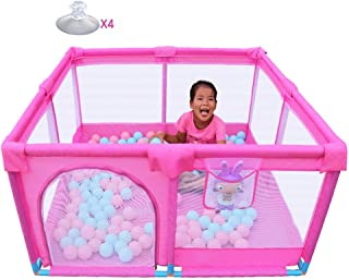 FCXBQ Baby playpen with portable mattress for infants  security against collisions for big boys  children s play  pink