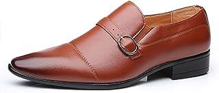 Zapatos casuales Zapatos de Oxford de los hombres, cuero de la PU Monk Correa pulida Sombrero Punta de punta puntiaguda, b...