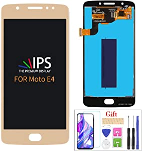 Compatible with Motorola Moto E4 Screen Replacement, for Moto E4 2017 XT1763 XT1765 XT1766 XT1767 LCD Display Touch Screen Digitizer Assembly Parts, with Screen Protector + Tools(Gold)