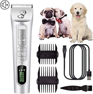 Pet Hair Clipper, Dog Shaver Safe and Durable Rechargeable Low Noise Cordless with LED Display Pet Hair Trimmer Suitable f...
