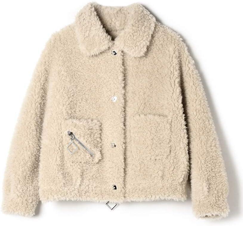 Hzikk Fleece Coat Female Fur All-in-One Pop Short Lamb Fur Coat,Apricot,M