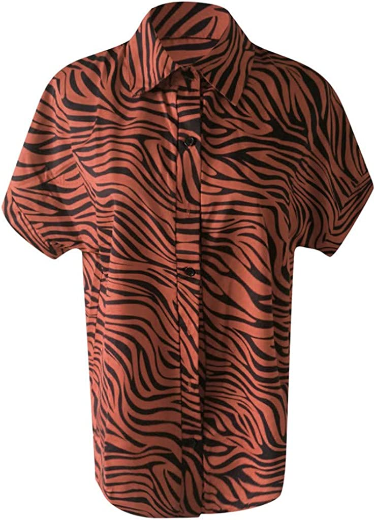 Realdo Womens Plus Size Shirt Button Down Striped Turndown Collar Short Sleeve Tops Solid Irregular Hem T-Shirt