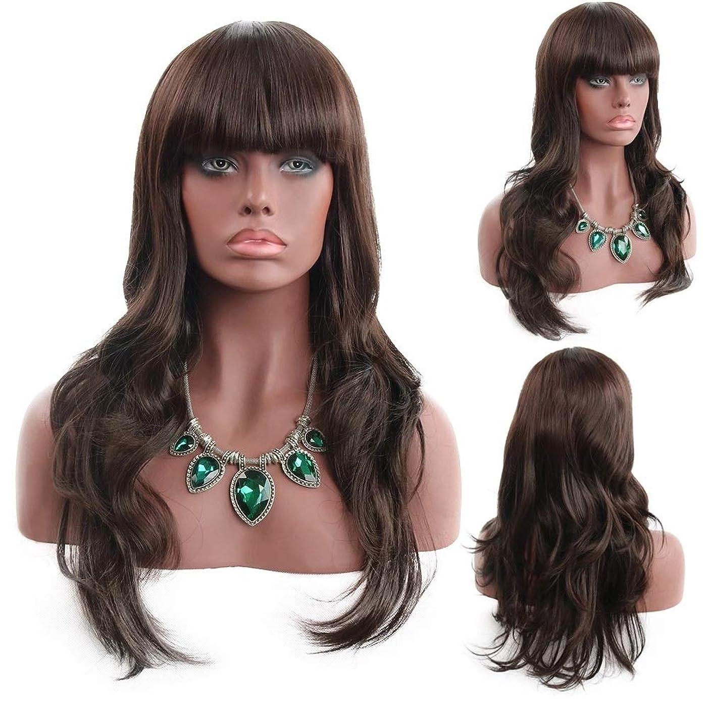 教義バウンドアルバニー前髪付きの女性の茶色の長い巻き毛の波状の髪の毛のかつら24インチの女性と少女のための魅力的な合成の完全な髪のかつらハロウィンコスプレ衣装アニメパーティーウィッグ